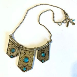 Lucky Brand brass and turquoise necklace